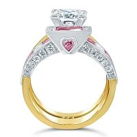 DJSP/38 Platinum and 18ct Yellow gold Argyle Pink Fitted Band