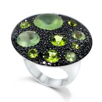 FSDR30 / 18ct White Gold Peridot and Black Diamond Dress Ring