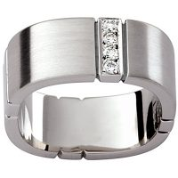 GW10 / 18ct White gold diamond set gents wedding ring