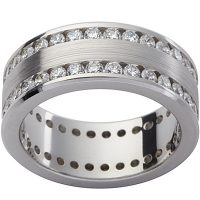 GW12 / 18ct white gold diamond set gents wedding ring