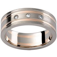 GW13 / 18ct white and rose gold diamond set gents wedding ring