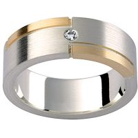 GW14 / 18ct white and yellow gold diamond set gents wedding ring