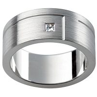 GW16 / 18ct White Gold Diamond set Gents wedding ring
