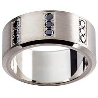 GW17 / 18ct White gold black diamond set gents wedding ring