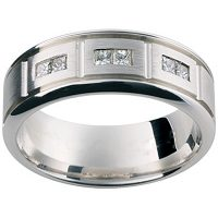 GW18 / 18ct white gold diamond set gents wedding ring