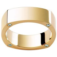 GW19 / 18ct yellow gold diamond set gents wedding ring