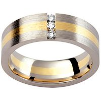 GW20 / 18ct white and yellow gold diamond set gents wedding ring