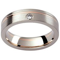 GW23 / 18ct White and rose gold diamond set gents wedding ring