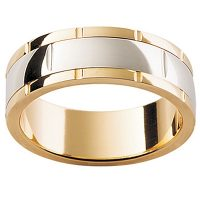 GW26 / 18ct White and Yellow Gold Gents Wedding Ring