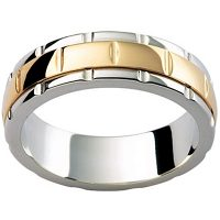 GW28 / 18ct White and yellow gold gents wedding ring