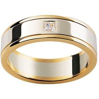 GW3 / 18ct White and Yellow gold diamond set wedding ring