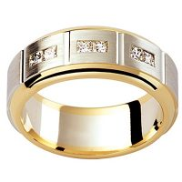 GW5 / 18ct white and yellow gold diamond set Mens wedding ring