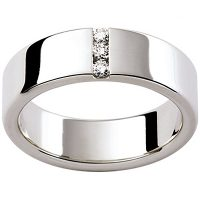 GW6 / 18ct white gold diamond set Gents wedding ring