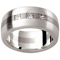 GW9 / 18ct and 9ct White Gold Gents Diamond set wedding ring