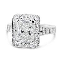 FSDR7/ Platinum 1.5ct Radiant Halo Engagement Ring