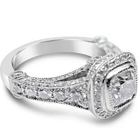 FSDR12/ Platinum 1ct Cushion Cut Diamond Ring