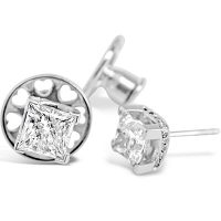 DE2/ Platinum 1.3ct Princess Cut Earrings