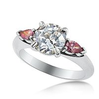 DJSP33/ Platinum Engagement Ring with Argyle Purple Pink Pears