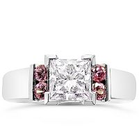 DJSP15/ Platinum Princess cut Ring with Argyle Pink Diamonds