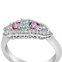 DVR4 / Platinum Fancy Blue/Green and Argyle Pink Diamond Ring