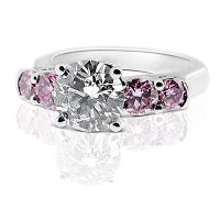 DJSP31/ Platinum Engagement Ring with Argyle Purple Pink Diamonds