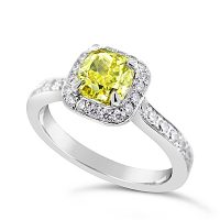 DVR13 / Platinum Fancy Yellow 1ct Cushion Diamond Halo Ring