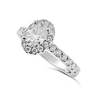 FSDR25/ 18ct White Gold 1ct Oval Diamond Halo Ring.