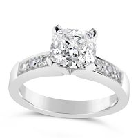 FSDR26/ Platinum 1ct Cushion Diamond Ring
