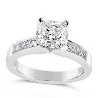 FSDR26/ Platinum 1ct Cushion Diamond Ring