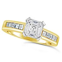 FSDR28/ 18ct Yellow Gold Asscher Cut Diamond Ring