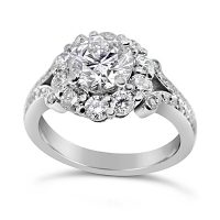 TDR30/ 18ct White Gold Diamond Cluster Ring