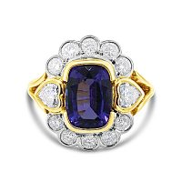 FSDR32/ 18ct Tanzanite and Diamond Dress Ring