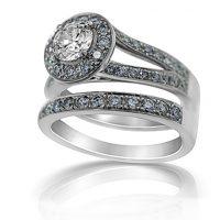 DJSP/35 Argyle Blue Diamond Engagement and Wedding Ring
