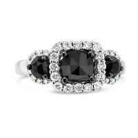 FSDR35/ 18ct White Gold Black Diamond Ring