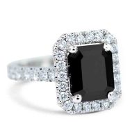 FSDR31 / 2.5ct Platinum Black Diamond Halo design Engagement Ring