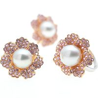 PJ9 / 18ct South Sea Pearl and Pink Sapphire Earrings and Ring
