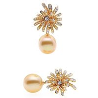 PJ11 / 18ct Golden South Sea Pearl Diamond and Sapphire Earrings
