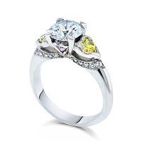 DJSP/36 Platinum Argyle Pink, Intense Yellow Engagement Ring