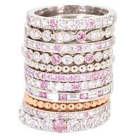 DJSP51 / Argyle Pink diamond stack in Platinum