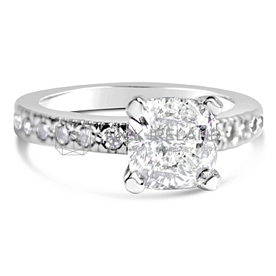 FSDR2/ 18ct White Gold Cushion Cut Engagement Ring
