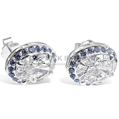DE1/ Platinum Oval Diamond Earrings
