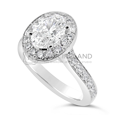 FSDR4/ 1ct Platinum Oval Diamond Halo