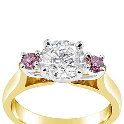 DJSP13/ 18ct Yellow gold Argyle Pink 3 stone