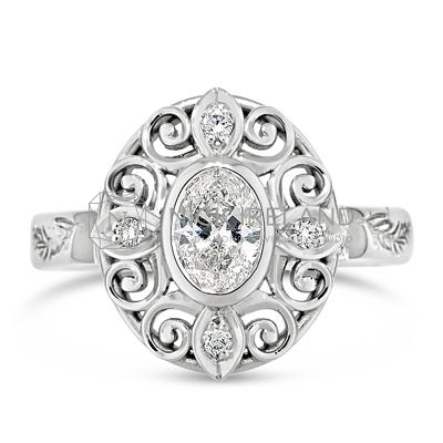 FSDR34/ 18ct White Gold Oval Diamond Ring