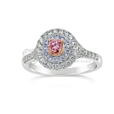 DJSP/41 18ct White Gold Argyle Pink and Blue Diamond Halo Ring
