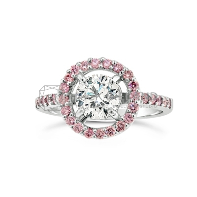 DJSP/45 18ct White Gold Argyle Pink Diamond Halo