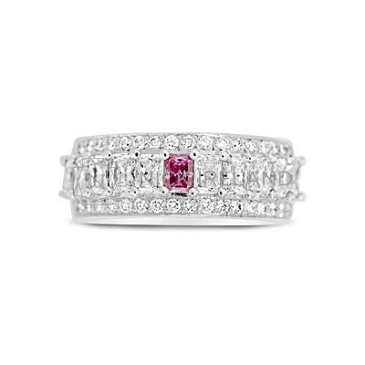 DJSP25/ Platinum Argyle Pink and White Diamond Wedding Ring