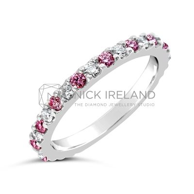 DJSP1/  Argyle Pink and White Diamond Wedding Ring