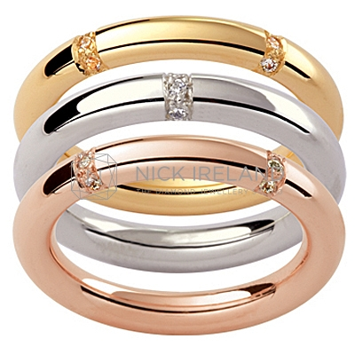 GW11/ 18ct Multi Colour diamond set Mens wedding rings