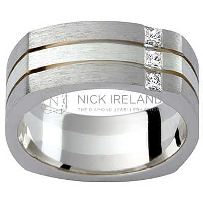 GW21 / 18ct and 9ct Diamond set gents wedding ring